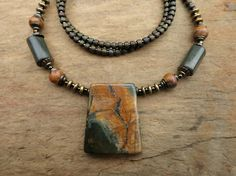 Earthy Picasso Jasper Necklace rustic and by ArtifactsEtCetera, $46.00