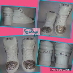 Eshays Initial Personalized White Sneaker Wedges | Eshays, LLC