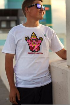 www.CounterFitCulture.etsy.com Screen Print T-Shirt Ganesh Pink And White by CounterFitCulture