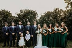 How gorgeous is this green bridal party! We are in love with this beautiful shade of green for a springtime wedding! Satin bridesmaid dresses create a modern bridal party you'll love! | #greenbridesmaiddresses #bridesmaiddresses #emeraldgreenbridesmaiddresses | Style F20099, F20098, DS270091, F20095 in Juniper, WG3880 | Shop these styles and more at davidsbridal.com! | Photo by: @glenaigilbertphoto Green Bridesmaid Dresses, Bridesmaids, Wedding Dresses, Rustic Wedding Inspiration, Davids Bridal, Green Wedding, Shades Of Green, Emerald Green, Bridal Style