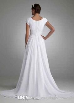 Modest Chiffon Bridal Gown High Neck Wedding Dress Custom Size 6 8 10 12 14 16+