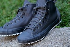 black leather chucks