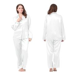 White Plus Size Silk Pajamas that is Amazingly Soft.| Lilysilk