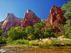Court of the Patriarchs by Kathy Weaver  The Court of the Patriarchs in Zion National Park, Utah. The peaks are from left to right Abraham, Isaac and Jacob