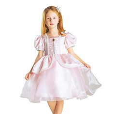 Leho Girls Princess Cinderella Organza Flower Girl Dress 150 Pink *** Want additional info? Click on the image.