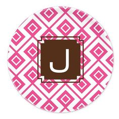 """Dabney Lee Lucy 10"""" Single Initial Melamine Plate Letter: J"""