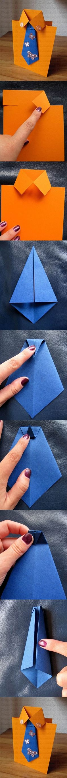 Fathers Day Card Idea: How to make a shirt and tie greeting card cool shirt diy tie diy crafts do it yourself diy projects greeting card Easy Diy Crafts, Crafts For Kids, Arts And Crafts, Paper Crafts, Card Crafts, Craft Kids, Diy Father's Day Cards, Diy Cards For Dad, Men's Cards