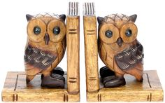 Namesakes Wholesale Gifts YO43: Hand Carved Bookends - Owl (Pack Size 3)