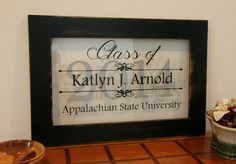 Items similar to Personalized Graduation Sign in Handcrafted Reclaimed Wood Frame with Distressed Black Finish on Etsy Graduation Crafts, High School Graduation Gifts, Graduation Theme, Graduation Project, Graduation Celebration, Graduation Decorations, Grad Gifts, Graduation Ideas, Graduation Shirts