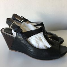 40530f3e1e4bc Uk size 6 womens clarks black leather wedge sandals