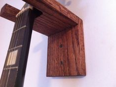 Guitar Hanger Wall Mount Solid Oak by JDrewCarpentry Guitar Wall Hanger, Guitar Rack, Guitar Diy, Guitar Stand, Guitar Storage, Wood Shop Projects, Wood Plans, Solid Oak, Wall Mount