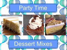 Tired of spending hours in the kitchen baking and preparing time consuming Appetizers and other recipes? Now you can make mouth watering Desserts, Cocktail Drinks, and Dips in less time by using our Party Time Mixes. These Mixes make it simple and fast to prepare for all your parties and special ocasssions!     All mixes are made of quality 100% Natural Ingredients. No preservatives! No MSG!     Do you have a Party coming up? Looking for easy recipes? Visit my site and order your…
