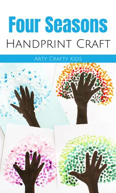 Looking for easy handprint crafts for kids to make at home or preschool for Mother's Day or Father's Day? These four seasons tree handprint crafts for kids make great Mothers Day crafts for kids but a Mothers Day Crafts For Kids, Crafts For Kids To Make, Kids Crafts, Cool Art Projects, Projects For Kids, Tree Handprint, Hand Print Tree, Crafty Kids, Wedding Scrapbook