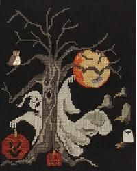 Even the tree is spooky in this Halloween piece!  The cute JABC buttons add the final creepy touch.  Most of the stitches are full cross stitches, with a few half and quarter stitches in the jack-o-lanterns.   #halloween #crossstitch