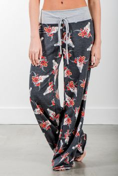 RubyClaire Boutique - Longhorn Wide Leg Loungers | Charcoal, $32.00 (https://www.rubyclaireboutique.com/longhorn-wide-leg-loungers-charcoal/) Floral Pants | Floral Pajama Pants | Lounge Pants | Yoga Pants | Longhorn Skull