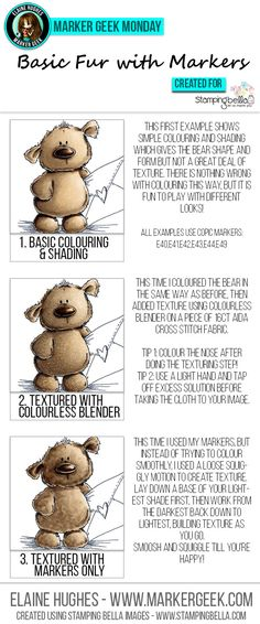 Marker Geek Monday - guide to quick and easy techniques for suggesting fur texture with Copic markers. Click through to read the blog post!