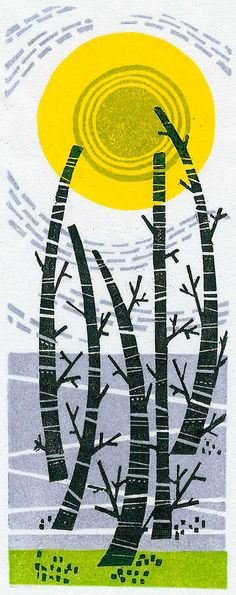 Five Trees - wood engraving print by Angie Lewin - printmaker