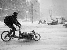 Bike messenger, February snow storm, Toronto   Flickr - Photo Sharing!