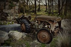 The remains of a dismantled tractor abandoned in the garden of the deserted farmhouse...