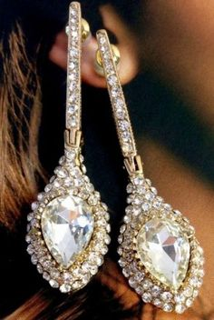 Ab Diamante Crystal Earrings pear shape droplets BNWT Silver ...