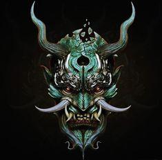 samurai oni mask fresh svein yngve sandvik antonsen cg art of samurai oni mask Japanese Demon Mask, Japanese Mask Tattoo, Japanese Dragon, Samurai Mask Tattoo, Oni Mask Tattoo, Demon Tattoo, Image Japon, Hannya Maske Tattoo, Oni Demon