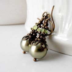 Olive Green Pearl Bridesmaid Earrings Beaded Dangles Victorian Style Antiqued Bronze Peridot Crystals Bridal Party Jewelry Bridesmaid Gift