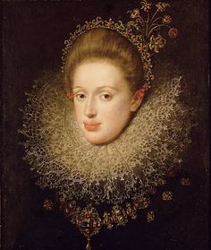 Portrait of Archduchess Anna of Tyrol (1585-1618) by Hans von Aachen, 1604 (PD-art/old), Kunsthistorisches Museum; the archduchess togehter with her elder sister Maria, was a candidate to marry Sigismund III Vasa after death of his first wife Anna of Austria but her hand was refused by Emperor Rudolph II
