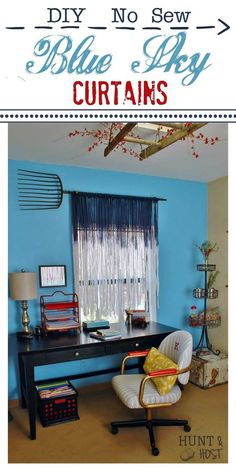 DIY Blue Sky Curtains These dreamy DIY no sew curtains will make your room soar to new heights. No Sew Curtains, Gold Curtains, Drop Cloth Curtains, How To Make Curtains, Floral Curtains, Rustic Curtains, Rod Pocket Curtains, Hanging Curtains, Kitchen Curtains