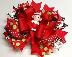 Holiday Hair Bow  Santas Helper Bow  OTT Hair Bow by PegsSewCrafty
