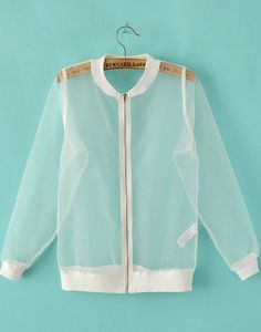 White Long Sleeve Sheer Organza Jacket 28.33