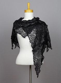 Châle noir châle fleurie écharpe fil argent dentelle fleurie noir châle  dentelle fleurie noir châle foulard 1b7b79bdb9a