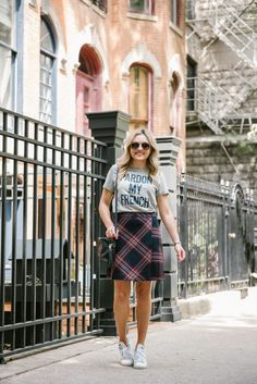 Pardon My French Tee + Plaid Skirt | bows & sequins