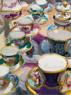 Cups and Saucers Painting Still Life, Still Life Art, Claude Monet, Figure Painting, Painting & Drawing, Pablo Picasso, Karen O'neil, Tea Cup Art, Conceptual Art