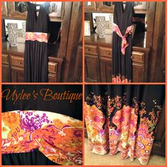 This is a beautiful black and floral maxi plus size dress. It has a gorgeous tie-in-the-back floral sash.  The size is XL, equivalent to a 16/18 plus size. Dress was purchased brand new and never used. Interested? Check out the website in our bio.