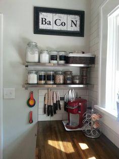 Baking supplies glass jar storage, magnetic knife strip
