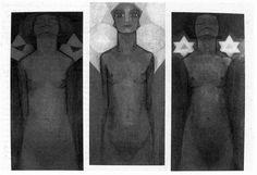 """Mondriaan en theosofie: """"... verbinding tussen concrete vormen en kleuren met abstracte begrippen en diepere betekenissen... """"hoe lichter de kleur is, des te verhevener is het idee of de gemoedstoestand die verbeeld wordt... Niet alleen Mondriaan heeft deze ideeën in zijn Evolutietriptiek toegepast, ook een kunstenaar als Kandinsky heeft er zijn theorie van betekenissen van abstracte vormen op gebaseerd..."""" Karel Blotkamp"""
