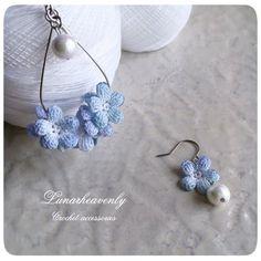 Crochet Earrings Pattern, Crochet Flower Patterns, Crochet Flowers, Crochet Lace, Crochet Necklace, Beaded Earrings, Earrings Handmade, Handmade Jewelry, Knitting Accessories