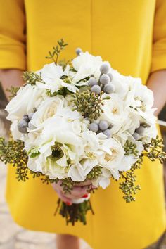 Beautiful cream and grey #bouquet, photo by Jake Holt Photography | via junebugweddings.com