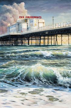 Our beautiful local pier at sunset. Oil on canvas. Landscape Art, Landscape Paintings, Heather Love, Painter Artist, Oil Painters, Great Paintings, Seaside Towns, Australian Artists, Learn To Paint