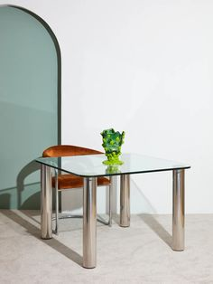 Glass Dining Table with Chrome Legs – Coming Soon Furniture, Glass Dining Table, Dining, 1970s Furniture, Dining Table, Table, Glass, Small Dining, Chrome