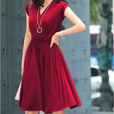 New Korean Womens Sexy V-Neck Short Sleeve Pleated Slim OL Dress Casual Sundress