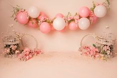 Balloon Arch Diy Discover Organic Simple Balloon Banner/ Bird cages/flowers with glitter Digital Backdrop/Digital Background 1st Birthday Photoshoot, 1st Birthday Party For Girls, Baby Birthday, Balloon Arch Diy, Balloon Garland, Balloons, Baby Cake Smash, 1st Birthday Cake Smash, Backdrops