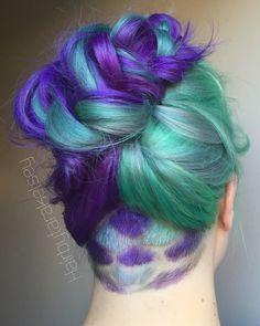 Undercut mermaid scales purple hair braided fauxhawk
