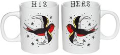 SOURPUSS HIS & HERS MUG SET You like your coffee black. They like their coffee with extra cream and extra sugar. So while you may not see eye to eye on how you take your coffee, you are still a pair of love birds, so we made this set of mugs for the two of you. Perfect for yourself, a wedding gift or for any couple that needs to make it clear just whose coffee is whose.  $18.00 #sourpuss #sourpussclothing #housewares #mugs #mugset #hisandhers #sparrows