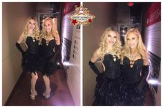 Models from J&D Entertainment dressed in black feather dresses for an event.  Houston, Texas www.jdentertain.com