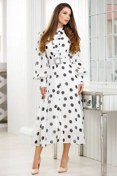 Rochie alba din voal cu buline negre si insertii lame - Smart Shopping Online Dresses With Sleeves, Long Sleeve, Shopping, Products, Fashion, Moda, Sleeve Dresses, Long Dress Patterns, Fashion Styles
