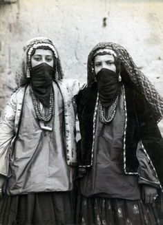 "Iran | ""Two women in tribal costume"". Qajar period.  ca. late 19th to early 20th century 