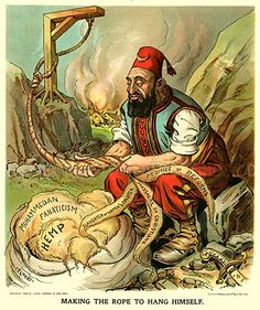 Turkey: Abdul Hamid II (r. Sultan of the Ottoman Empire, represented as 'making the rope to hang himself', Judge Magazine (USA), September 1903 Ottoman Turks, Research Images, Teaching History, Ottoman Empire, Vintage Art, Canvas Prints, Cartoon, Illustration, Artist