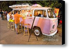Vintage Pink Volkswagen Bus canvas print by Luciano Mortula. Bring your artwork to life with the texture and depth of a stretched canvas print. Your image gets printed onto one of our premium canvases and then stretched on a wooden frame of Coffee Carts, Coffee Truck, Kombi Food Truck, Food Trucks, Vw Bus For Sale, Foodtrucks Ideas, School Bus Camper, Mobile Coffee Shop, Coffee Trailer