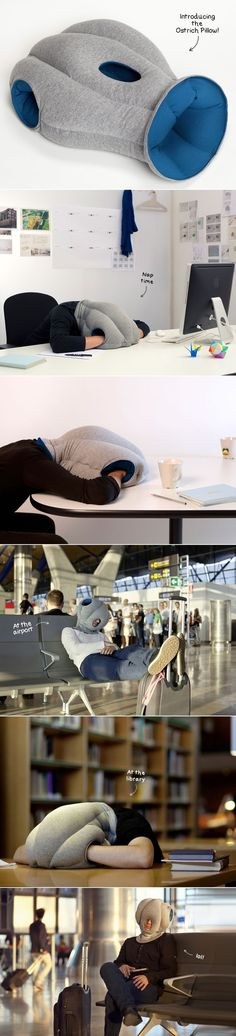 I clearly need one of these. The Ostrich Pillow is the Rich Man's Hoodie   16 Nap Hacks So You Can Siesta Any Time At Any Place